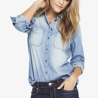 MEDIUM WASH DENIM BOYFRIEND SHIRT from EXPRESS