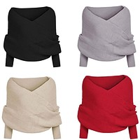 New Style Fashion Hot US Stock Women Fashion Off shoulder Knitted Cape Top Wrap Shawl