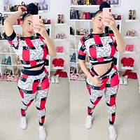 GUCCI New Popular Women Casual Long Sleeve Round Collar Top Pants Set Two-Piece
