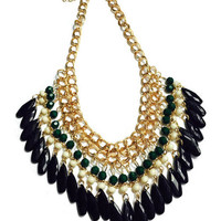 Bib Necklace - Choker Chunky Necklace - Gold Stainless Steel Chain - Boho Style Neckace - Green Tier Necklace - Black Tier Necklace