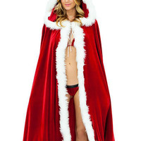 Red Christmas Cosplay Costumes Hooded Velvet Cloak