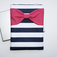 MacBook Pro / Air Case, Laptop Sleeve - Navy and White Stripes with Hot Pink Bow and Pocket - Double Padded