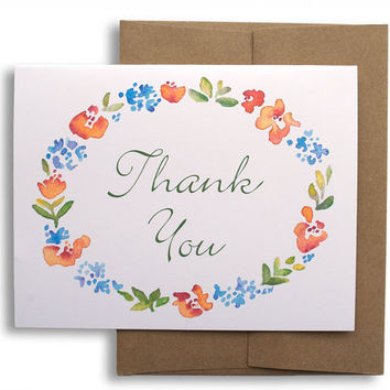 Watercolor Floral Thank You Cards Set of Six - Wedding Thank You - Flowers - Woodland