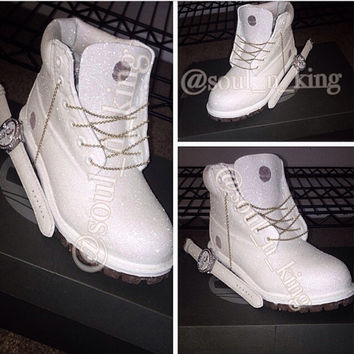 White Diamonds Custom Made Timberland Boots glitter timbs