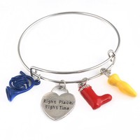 RJ How I Met Your Mother Right Place&Right Time Bracelets Alice in wonderland Umbrella Red Boot Blue Horn Women Girl Bangles