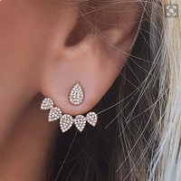 Luxury Rhinestone Water Drop Simple Earrings For Women Gold Silver Stud Earrings Women Fashion Double Sided Earrings Jewelry Gift 111901