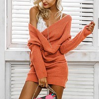 V neck knitting sweater dress Women oversize loose knitted dress female short dress casual pull femme