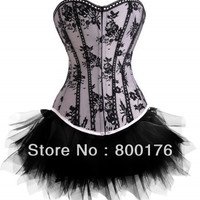 Goth satin net overlay corset with separate tutu skirt  2-6X