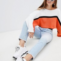 PrettyLittleThing Striped Wide Sleeve Cropped Sweater at asos.com
