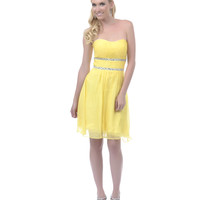 2013 Homecoming Dresses - Yellow Ruched Empire Waist Strapless Dress