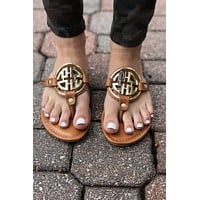 Tory Sandal Inspired - Brown