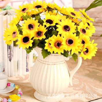 Vivid 7/9 Branches Autumn Artificial Fake Chrysanthemum Home Hotel Room Wedding Decor