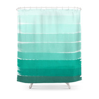 Society6 Ombre - Brushstroke Green/Blue Ocean Ombre, Girly Trend, Dorm Decor, Cell Phone, Beach, Summer, Shower Curtains
