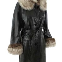 1960s Black Leather Fox Trim Coat