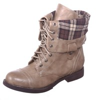 New! Military Combat Boot Fold-over Cuff + Zipper on the Back Multiple Color,Chess-3 Brown 8