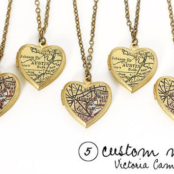 SET of 5 - Custom Map Necklaces, Small Vintage Heart Locket, Brass Chain, Map Jewelry, Personalized Bridesmaid Gifts