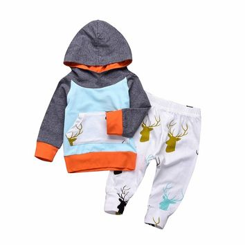 Puseky Newborn Baby Boys Clothes Sets 2pcs Hoodie Tops Long Sleeve Cotton Cute Pants Casual Clothing Set Baby Boy 0-24M