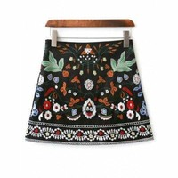 A Line Floral Embroidered Mini Skirt