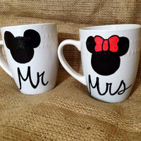 Mickey Mouse Minnie Mouse's Mr and Mrs Coffee Mug Set // Bridal Honeymoon Bride and Groom Newlyweds Disney Couple