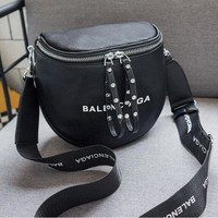 BALENCIAGA Fashion Women Personality Leather Rivets Shoulder Bag Crossbody Satchel Black