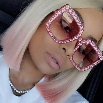 Kamari- Luxury Crystal Sunglasses Squared Oversized