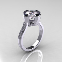 Modern Classic 10K White Gold 1.5 Carat CZ Marquise by artmasters