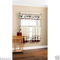 """Farm Rooster 3 Piece Country Kitchen Curtain Set With Valance and 36""""L Tiers"""