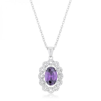 Amethyst Oval Drop Necklace