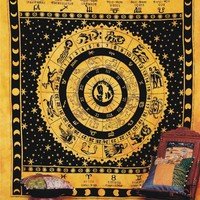 Indian Astrology Tapestry Throw Indian Tapestry Zodiac Wall Hanging Decor Art