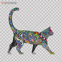 Vinyl Sticker Decal Domestic Floral Cat Atv Car Garage bike feline colorful fashion young (3 X 2,98 Inches) Fully Waterproof Printed vinyl sticker