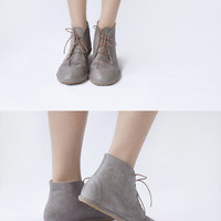 Leona in Gray - Handmade Leather flat lace-up ankle boots - CUSTOM FIT