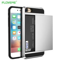 FLOVEME For iPhone 6 6s Cool Hybrid Case Slide Card Holder Dual Layer Hard Soft Armor Luxury Cover For iPhone 7 5 5s 5C Plus