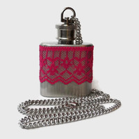 Flask Necklace 1oz - dark reddish pink lace - Conceal under shirt or display awesomeness. Looks like normal necklace when hidden