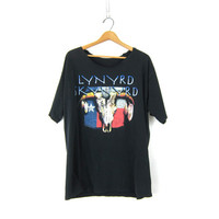 Oversized BAND Graphic Tee Shirt Lynyrd Skynyrd Black Grunge Cut Off Neck faded Tee shirt size XL