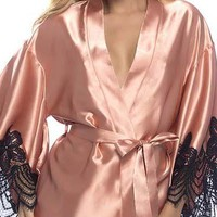 Sexy Satin Robe with Appliqué Pointed Scallop Lace Sleeves