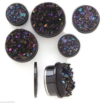 with Clear And Black CZ 2 Pieces 1 Pair Screw-on Plugs // Gauges // Tunnels Surgical Steel B24 316L