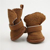 4PCS/SET Non-slip shoes dog Teddy pet thick soft bottom snow boots Small Dogs Winter Soft cotton boots