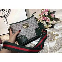 Gucci Contrast Hot Sale Women Green&Red Shoulder bag Shopping Bag B-AGG-CZDL Green