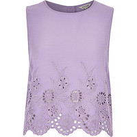 River Island Womens Purple crepe embroidered hem tank top