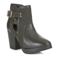 Anabela Leather Buckle Boot - Shoes