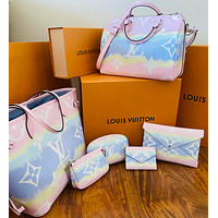 LV Louis Vuitton Hot Sale Classic Gradient Color Print Letter Two-piece Shoulder Bag Messenger Bag Handbag Wallet Clutch