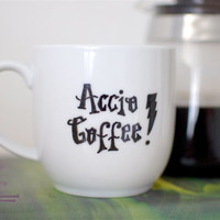 Harry Potter Accio Coffee Spell Hand Painted Mug