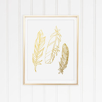 Faux Gold Foil Feather Print. Minimalist Wall Art. Shabby Chic. Chic Print. Modern Home Decor. Feather Art.