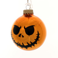 Holiday Ornaments HALLOWEEN SCARY FACES Glass Spooky 710023A Orange