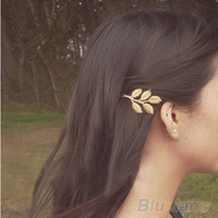 1Pc Fashion Lovely Leaves Golden Metal Punk Hair Clip
