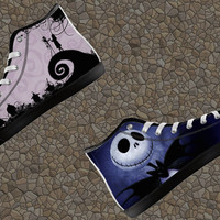 Jack Skellington Nightmare Before Christmas Custom Canvas Halloween High Top Shoes not Converse