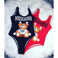 Moschino Fashion Women Beach Cute Bear Print Halter Vest Style One Piece Bikini