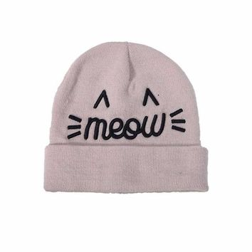 Cat Beanie Hat with MEOW Embroidery