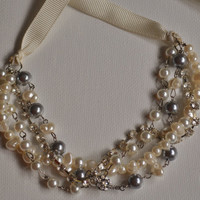 Pearl and Rhinestone Bridesmaid Necklace Set with Pearl Earrings,