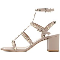 Sandals For Women,Rivets Studded Strappy Block Heels Slingback Gladiator Shoes Cut Out Dress Sandals
